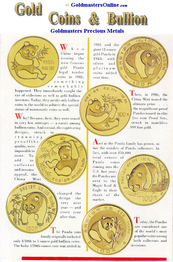 Gold Panda Coins from China