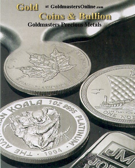 Picture of platinum coins from around the world.